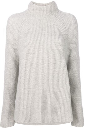 N.Peal Ribbed High-Neck Sweater