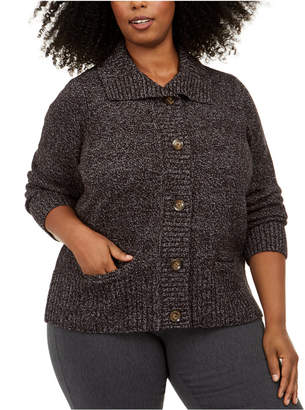 Karen Scott Plus Size Marled Wing-Collar Cardigan