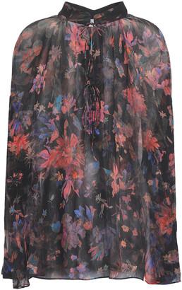IRO Gathered Printed Silk-chiffon Blouse
