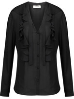 L'Agence Valentina Ruffled Silk Crepe De Chine Blouse