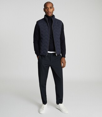 Reiss Erin - Quilted Gilet in Navy