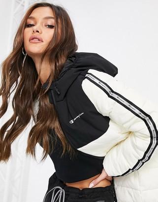 Champion padded baffle jacket in black and white