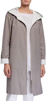 Eileen Fisher Plus Size Reversible Hooded Cotton/Nylon Jacket