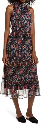 Sam Edelman Floral Plisse Midi Dress