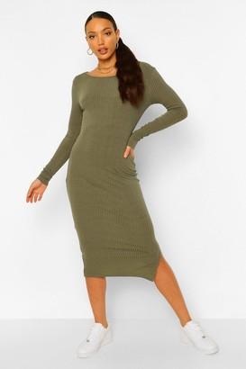 boohoo Tall Rib Scoop Neck Long Sleeve Bodycon Midi Dress