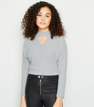 New Look Girls Ribbed Choker Jumper
