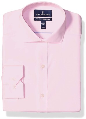 Buttoned Down Tailored Fit Cutaway-Collar Solid Non-Iron Dress Shirt Light Pink/No Pockets 17.5 Inches Neck 32 Inches Sleeve