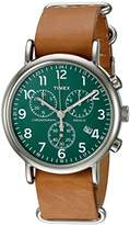 Timex Unisex TWC066500 Weekender Chrono Oversize Green/Tan Leather NATO Slip-Thru Strap Watch