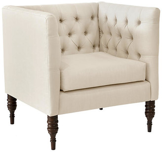 One Kings Lane Churchill Tufted Club Chair - Talc Linen - frame, espresso; upholstery, talc