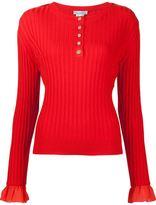 Oscar de la Renta sleeve detail ribbed jumper - women - Virgin Wool - M