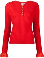 Oscar de la Renta sleeve detail ribbed jumper