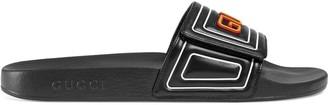 Gucci logo leather slide sandal