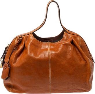 Dolce & Gabbana Tan Leather Zip Handle Hobo