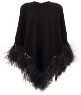 Valentino Feather-trimmed Wool-blend Poncho - Womens - Black