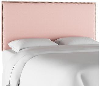 One Kings Lane Loren Headboard - Blush - upholstery, light pink; nailheads, brass
