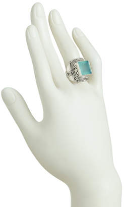 Made In India Sterling Silver Aqua Chalcedony Artisan Ring