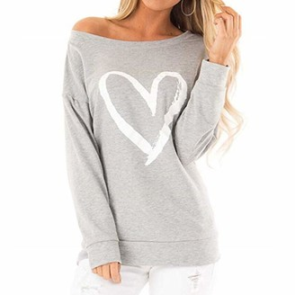 Yczx Womens Sweatshirt Off Shoulder Sexy T-Shirt Long Sleeve Casual Tunic Tops Comfy Elegant Shirt Autumn Winter Stylish Printed Sweatshirt Loose Breathable Pullover Blouse L