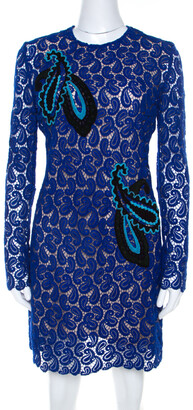 Mary Katrantzou Cobalt Blue Paisley Macrame Lace Overlay Geri Shift Dress M