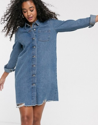 JDY oversized denim dress in blue