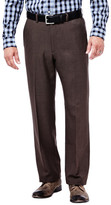 Haggar Cool 18 Stria Pants, Classic Fit, Flat Front, Hidden Expandable Waistband