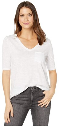 Liverpool V-Neck Tee w/ Pocket (White Cotton) Women's Blouse