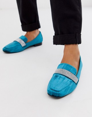 Asos Design DESIGN Manage loafer flat shoes with embelishment in teal