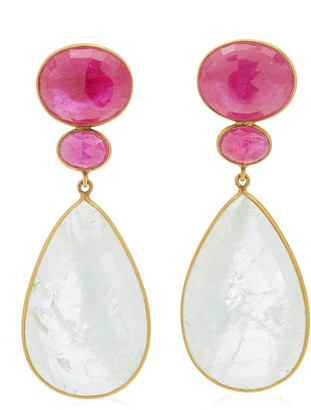 Bahina 18K Yellow Gold Ruby Aquamarine Earrings