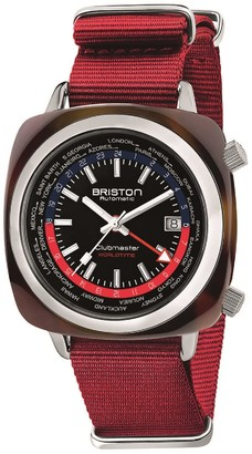 Briston Clubmaster Traveler Worldtime Gmt Automatic, Tortoise Shell, Black Dial, Red Nato Strap LIMITED EDITION