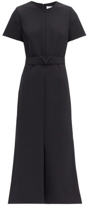 Valentino Belted Flared Cady Dress - Black