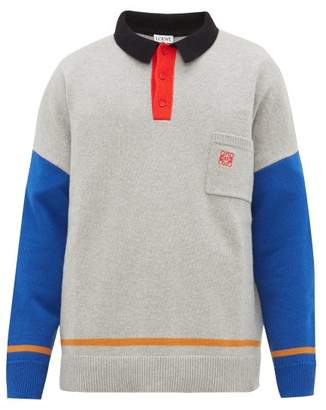 Loewe Oversized Colour-block Knitted Polo Shirt - Mens - Grey Multi