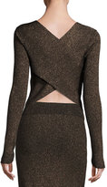 A.L.C. Chance Ribbed Metallic Sweater, Black/Apricot