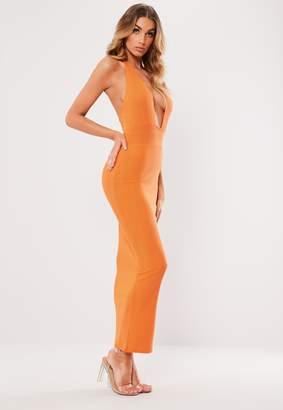 Missguided Orange Bandage Halterneck Midi Dress