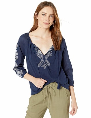 Lucky Brand Women's Embroidered 3/4 Sleeve Peasant TOP