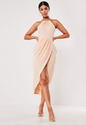 Missguided Nude Halterneck Wrap Midi Dress