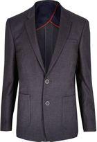 River Island MensDark grey textured slim blazer