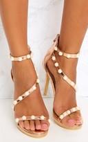 PrettyLittleThing Rose Gold Pearl Triple Strap Heels