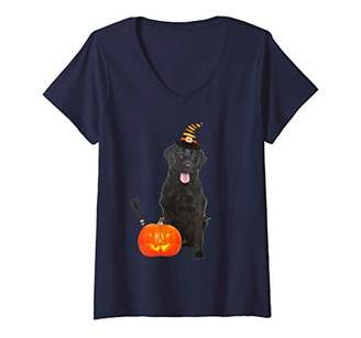 Womens Flat Coated Retriever Witch Hat Halloween Dog Costume V-Neck T-Shirt