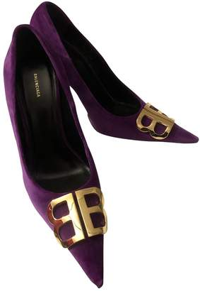 Balenciaga BB Purple Suede Heels