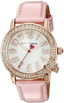 Betsey Johnson Women's BJ00562-03 Rose Gold-Tone Watch with Pink Patent Leather Band