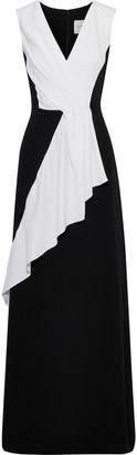 Carolina Herrera Pleated Two-tone Silk-crepe Gown