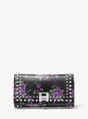 Michael Kors Bancroft Studded Floral Calf Leather Continental Wallet