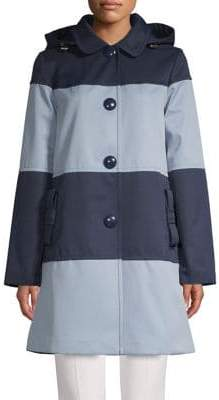 Kate Spade Colourblock Hooded Trench Coat