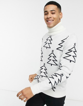 Threadbare christmas tree sweater in off white and navy
