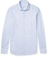 Incotex - Micro-checked Linen And Cotton-blend Shirt