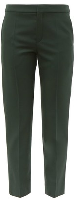 Chloé Tailored Wool-blend Cropped Slim-fit Trousers - Womens - Dark Green