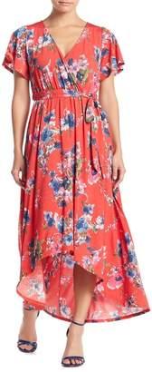 WEST KEI Floral High/Low Hem Waist Tie Dress