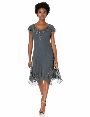 J Kara Women's Petite Flutter Sleeve Hanky Hem Short Cocktail Beaded Dress