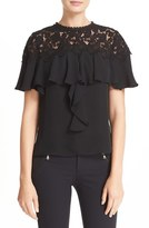 Rebecca Taylor Women's Ruffled Lace And Georgette Top
