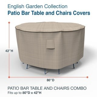 Budge Waterproof Outdoor Patio Bar Table and Chairs Cover, English Garden, Tan Tweed, Multiple Sizes