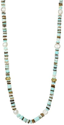 Nest 22K Yellow Goldplated, Blue Opal & 10MM Baroque White Freshwater Pearl Necklace